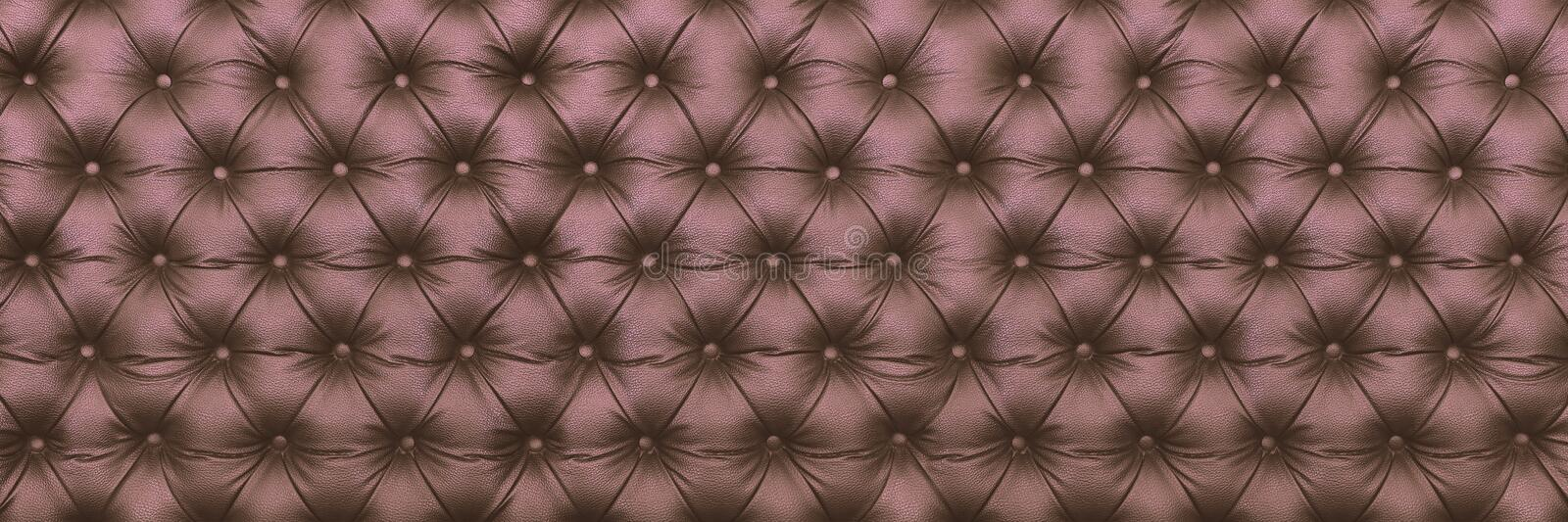horizontal elegant brown leather texture with buttons for patter royalty free stock photos