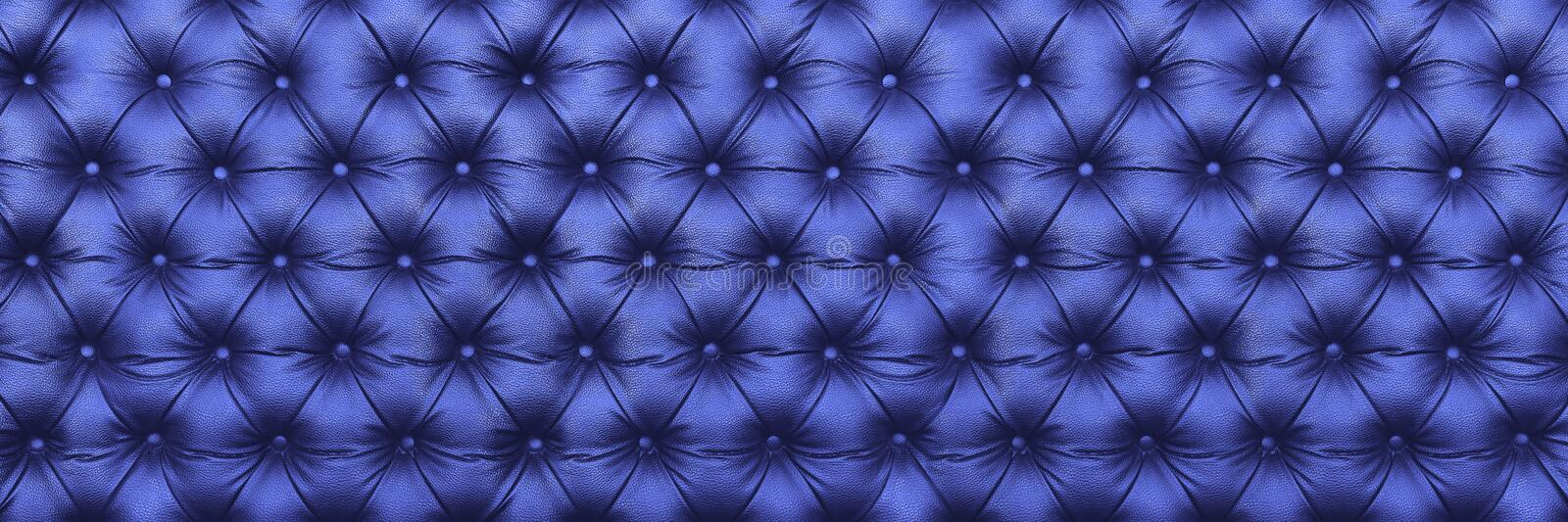 horizontal elegant dark blue leather texture with buttons for pa stock image