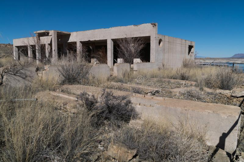 Horizontal,Elephant Butte Lake townsite ruins, New Mexico. One of many views of Elephant Butte Lake in southwest New Mexico. The Lake's water level is very stock images