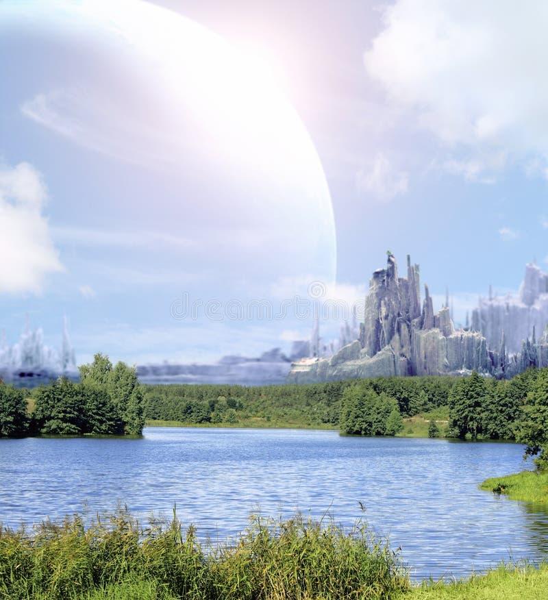 Horizontal en planète d'imagination images libres de droits