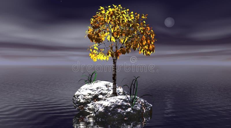 Horizontal et arbre illustration stock