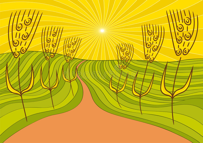 Horizontal et blé illustration stock