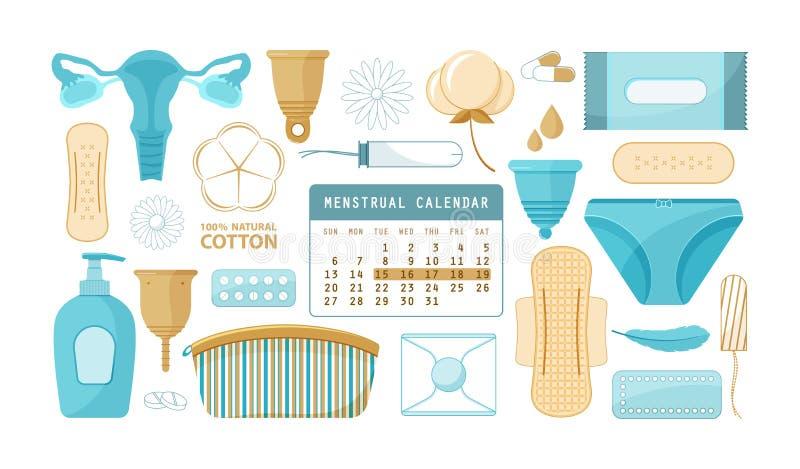 Menstruation flat vector illustration. Horizontal flat vector banner. Woman periods. Set of isolated beautifully arranged elements. Organ, calendar, sanitary royalty free illustration