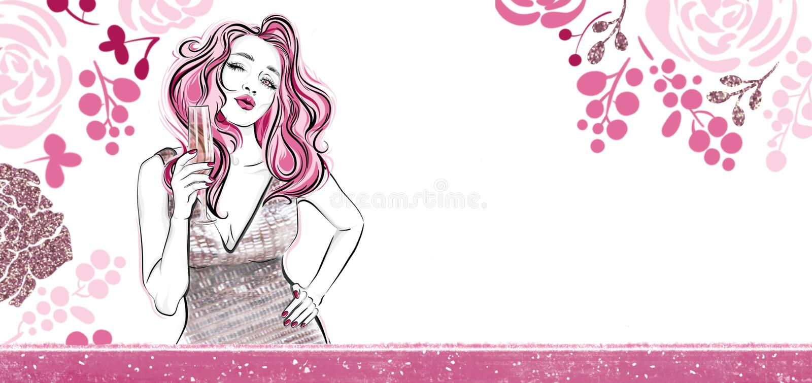 Horizontal floral banner. Girl with a glass of champagne sending air kiss. Templates for invintation stock illustration