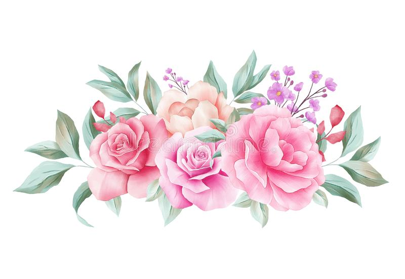 Horizontal floral decoration for wedding invitation card border. Corner watercolor flowers illustration of peach roses, leaves,. Branches composition isolated stock illustration