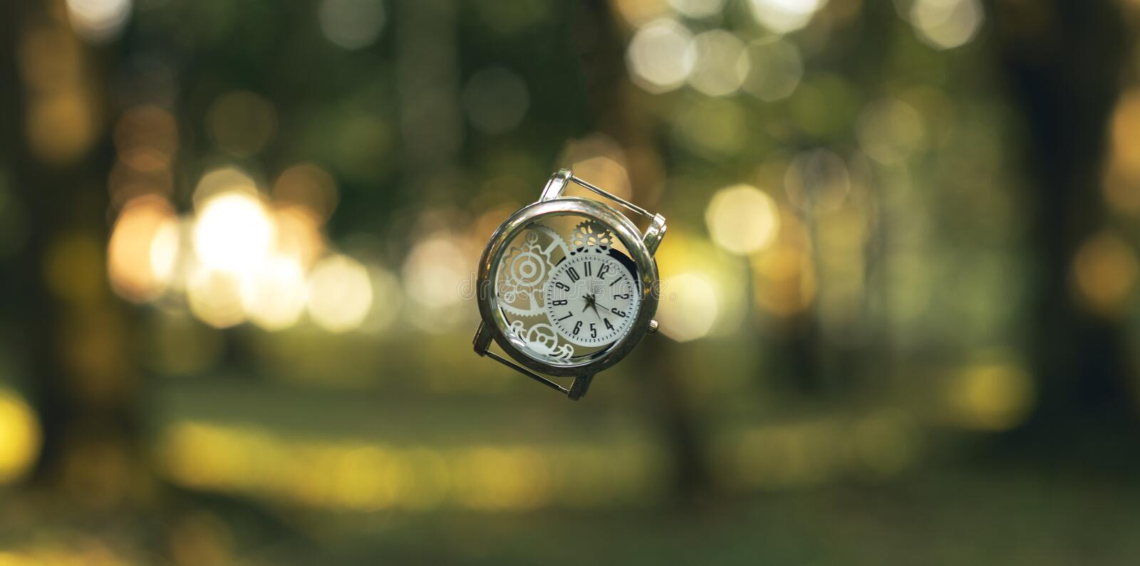 Horizontal format inspiring graphic design picture of vintage hand clock in the air on golden fairy tale forest unfocused natural. Background environment royalty free stock images
