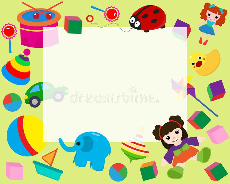 Horizontal frame border with colorful toys in cartoon style banner vector illustration. Place for photo, picture royalty free illustration