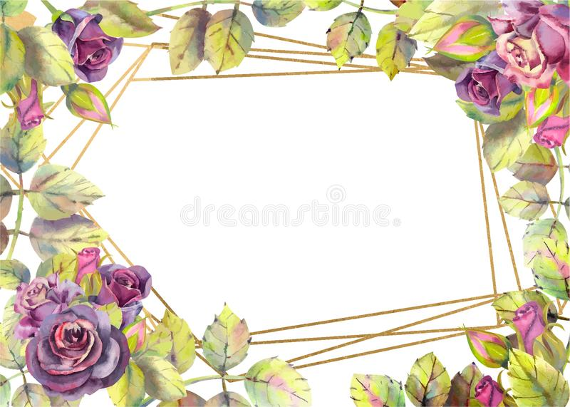 Horizontal frame with dark rose flowers. Compositions for the design of greeting cards or invitations. Vector illustration. Floral, purple, pink, wedding vector illustration