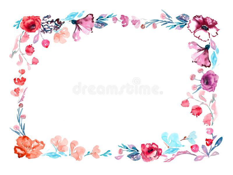 Horizontal Frame Of Roses Flowers And Wild Mallow, Blue Leaves And ...