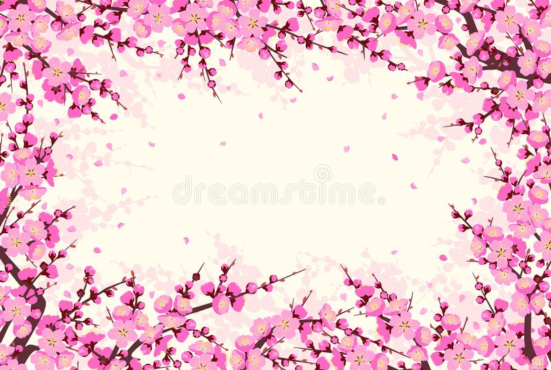 Horizontal Frame with Plum Blossom Branches vector illustration