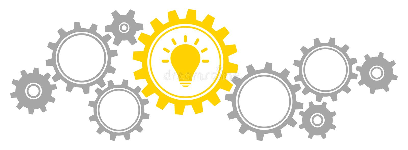 Horizontal Gears Border Graphics Idea Gray And Yellow vector illustration