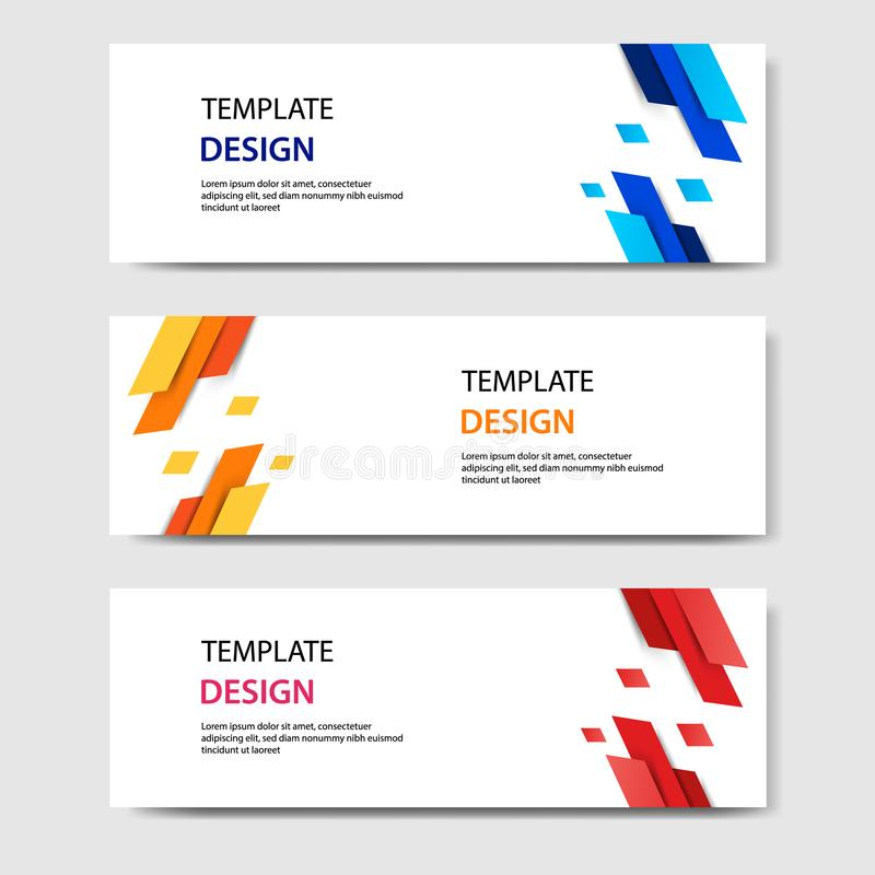 Horizontal geometric shape banner template abstract paper cut style. Vector design layout for web, banner, header, print flyers vector illustration