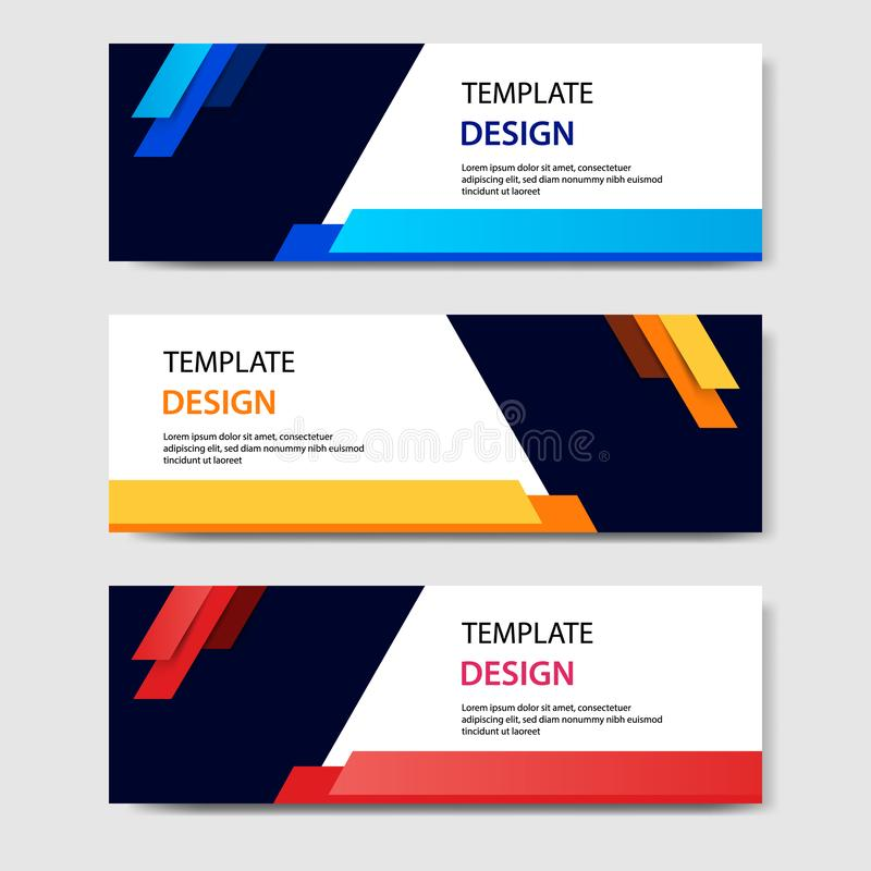Horizontal geometric shape banner template abstract paper cut style. Vector design layout for web, banner, header, print flyers stock illustration