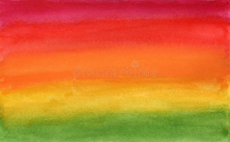 Horizontal gradient green to red watercolor art stock images