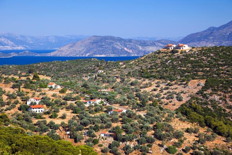 Horizontal grec pris sur Poros photos libres de droits