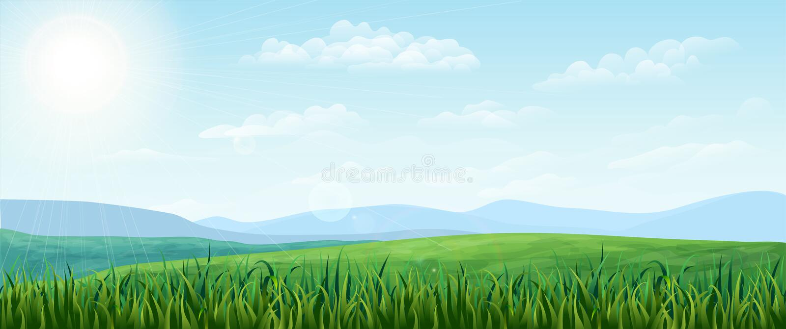 Horizontal green Summer landscape. bright idyllic Spring background with green meadows, rural fields and meadows. Horizontal green Summer landscape. sunny royalty free illustration