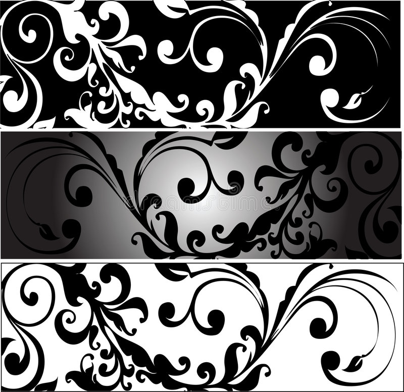Download Horizontal Greyscale Arabesques Stock Vector - Image: 8910937