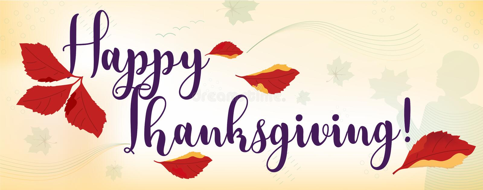 Horizontal Happy Thanksgiving facebook cover, web page, site banner template. Collage of handwritten font, autumn branch, falling. Grape leaves, girl on orange vector illustration
