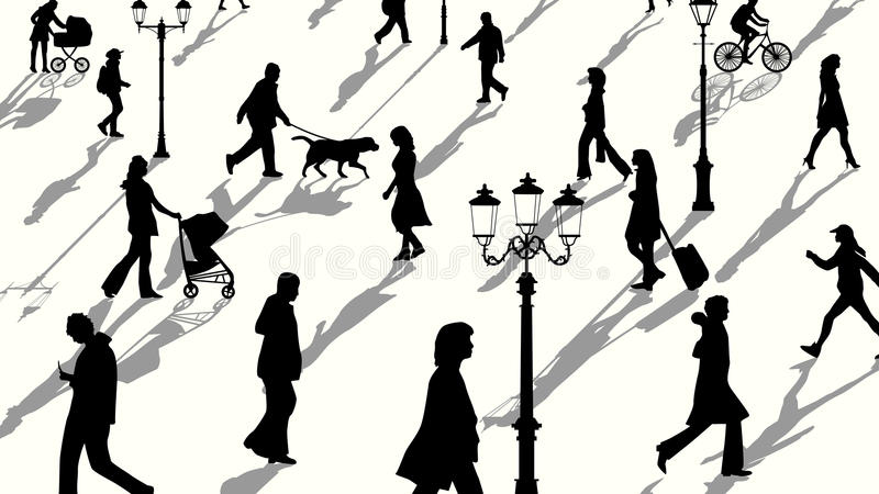 Horizontal illustration of crowd people silhouettes with shadows. Vector horizontal illustration crowd of people and lampposts silhouettes with shadows