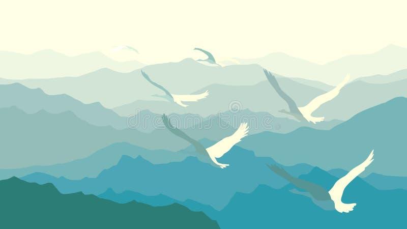 Horizontal illustration flock of swans flying over mountains. royalty free illustration