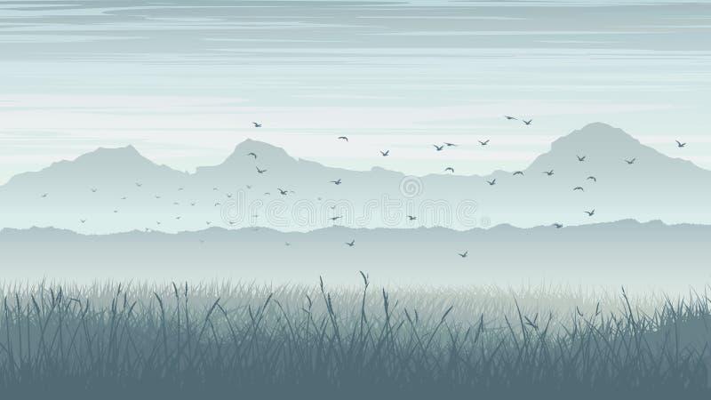Horizontal illustration of misty landscape with birds in sky. royalty free illustration