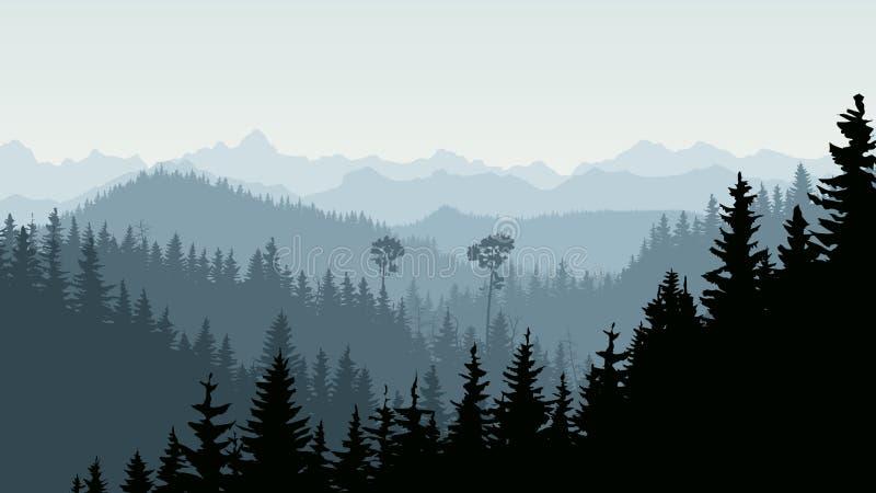 Horizontal illustration of morning mist in forest hills. vector illustration
