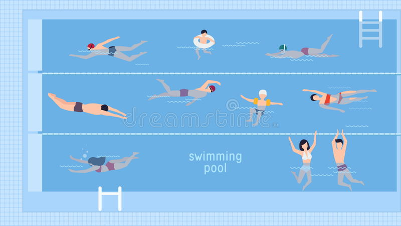 Horizontal illustration with swimmers in swimming pool. Top view. Various people and kids in water, swim in different stock illustration