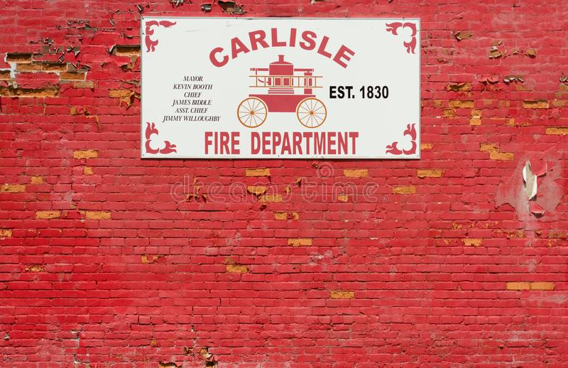 Carlisle, Kentucky / United States - June 20, 2018: The Carlisle Fire Department was established in 1830. Horizontal image of Carlisle Fire Department sign on a royalty free stock photos