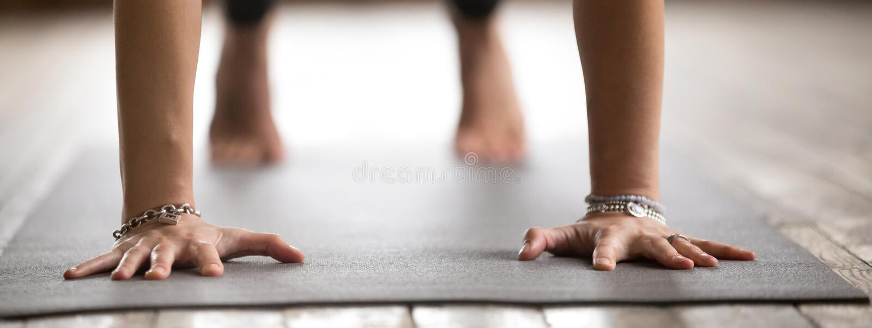 Horizontal image closeup female doing plank pose exercise on mat stock photos