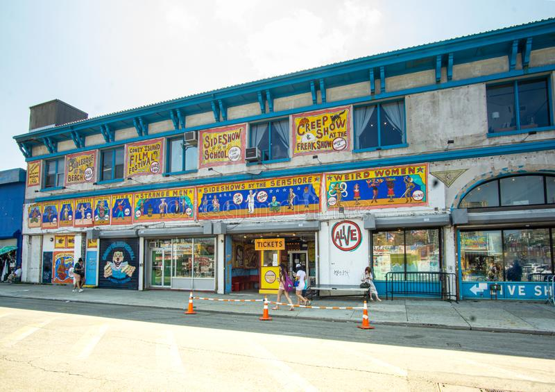 Brooklyn, NY - Landscape view of the iconic Freak Show in the Coney Island section of New York City. stock image
