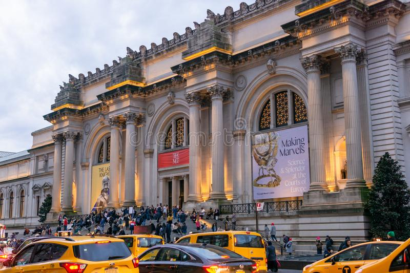 New York, NY / United States - Jan. 4, 2020: Landscape image of the entrance of the Metropolitan Museum of Art at the end. Horizontal image of the entrance of royalty free stock image