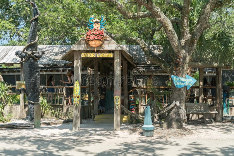 Tybee Island, Georgia / United States - June 24, 2018: The Crab Shack offers a family environment and great food. Horizontal image of the entrance to The Crab royalty free stock photo