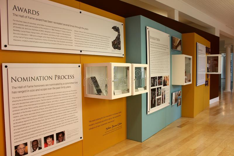 Exhibit covering the nomination process and awards in of Hall of Fame, National Museum of dance, Saratoga, 2018. Horizontal image of posters of dancers and royalty free stock images