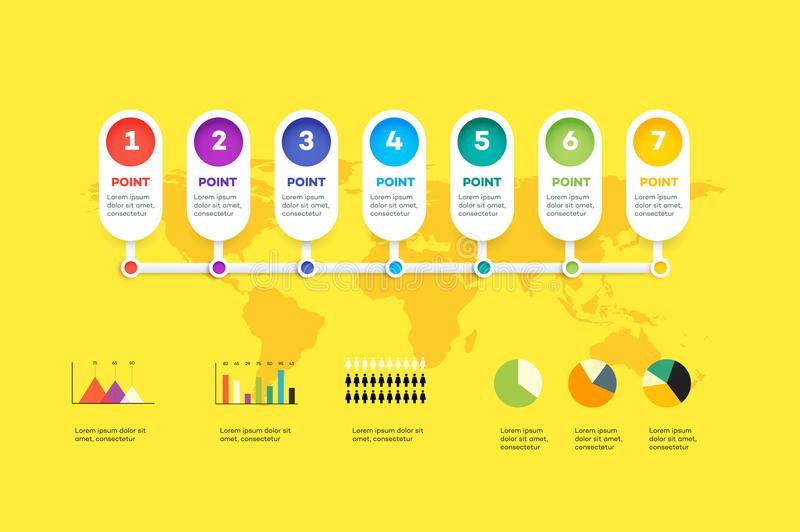 Horizontal Infographic Timeline. Vector Template For Modern Business Presentation, Web Banners, Layouts vector illustration