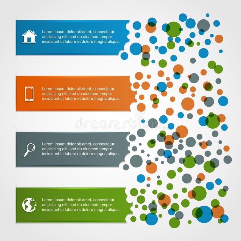 Horizontal infographics with circles