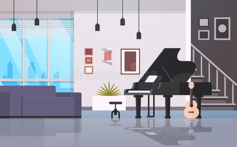 Horizontal intérieur de hall d'instruments de musique de piano de guitare de maison d'appartement moderne vide à la maison contem illustration stock