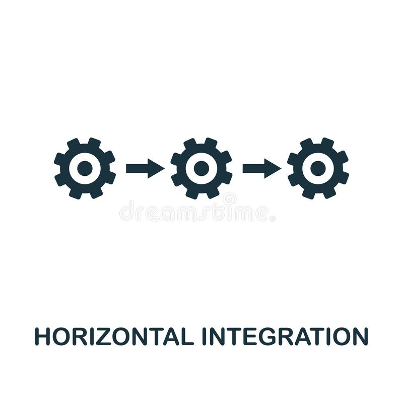 Horizontal Integration icon. Monochrome style design from industry 4.0 icon collection. UI and UX. Pixel perfect horizontal integr royalty free illustration