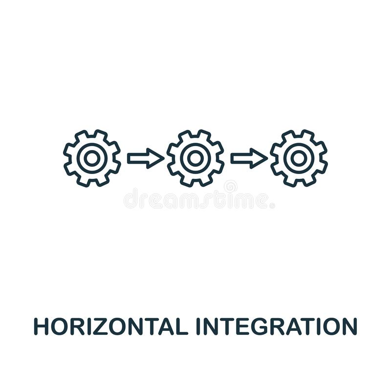 Horizontal Integration icon. Thin line style industry 4.0 icons collection. UI and UX. Pixel perfect horizontal royalty free illustration