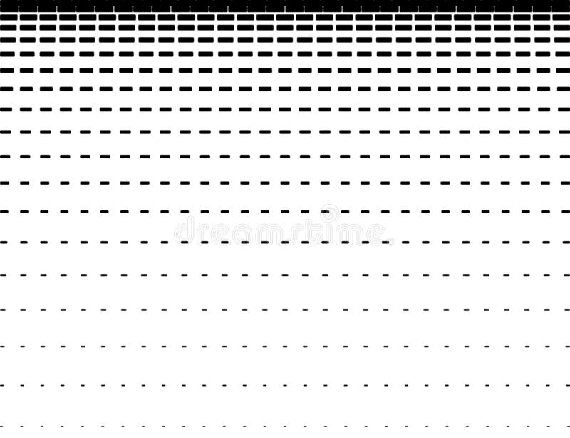 Horizontal intermittent parallel lines. Geometric black lines of varying thickness on a white background. Abstract pattern design. Gradient effect. Isolation royalty free illustration