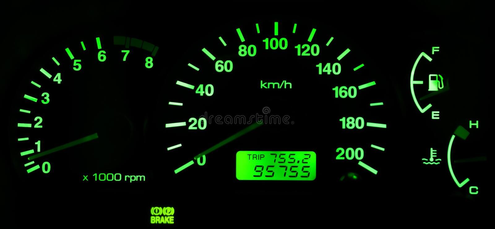 Horizontal isolated green car speedometer no fuel panel royalty free stock photo