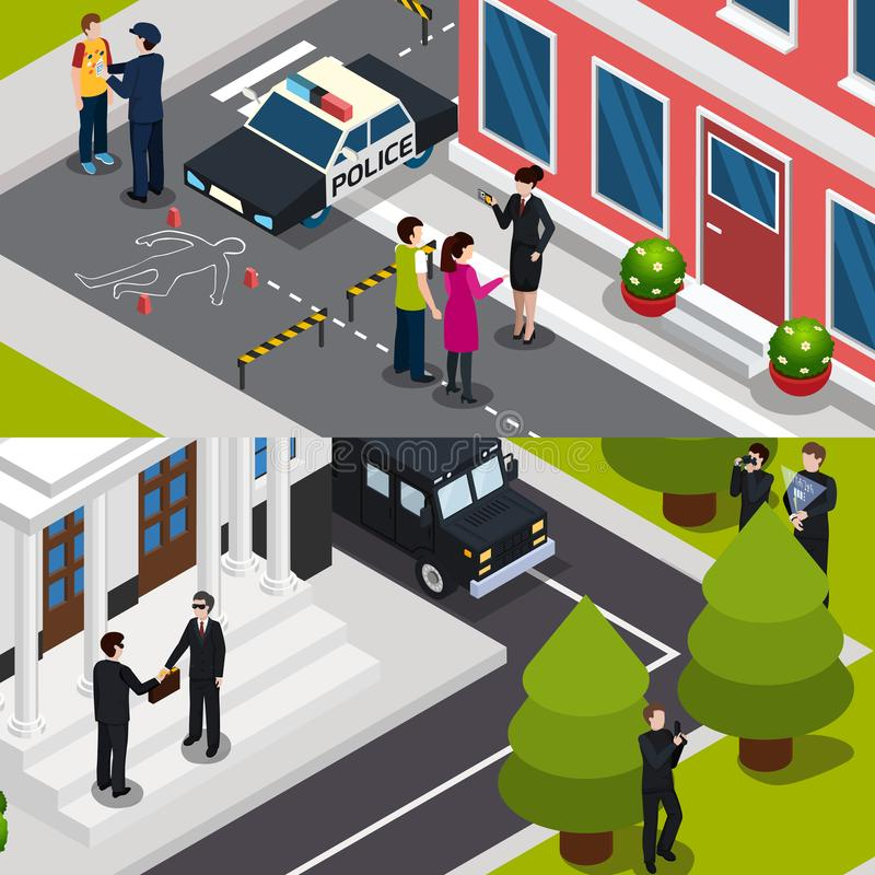 Special Agent Isometric Banners stock illustration