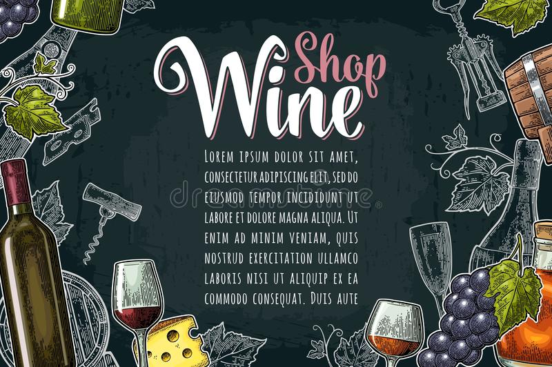 Horizontal label or poster. Wine Shop lettering. Vector vintage engraving. Horizontal label or poster. Wine Shop lettering. Bottle, barrel, glass, cheese, bunch stock illustration