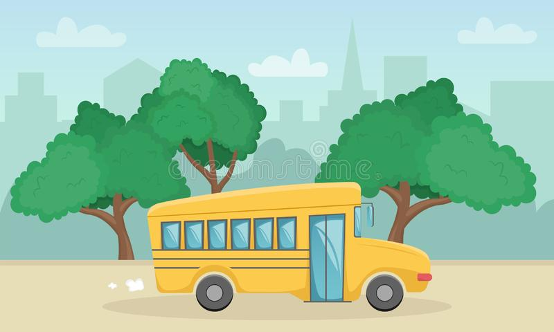 Horizontal landscape with yellow school bus. Back to school. New academic year royalty free illustration