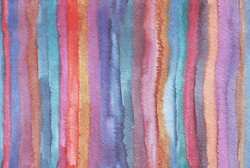 Horizontal large illustration with watercolor vertical stripes in seamless abstract background. Vivid colors, grainy texture, hand. Drawn with bright colors and stock illustration