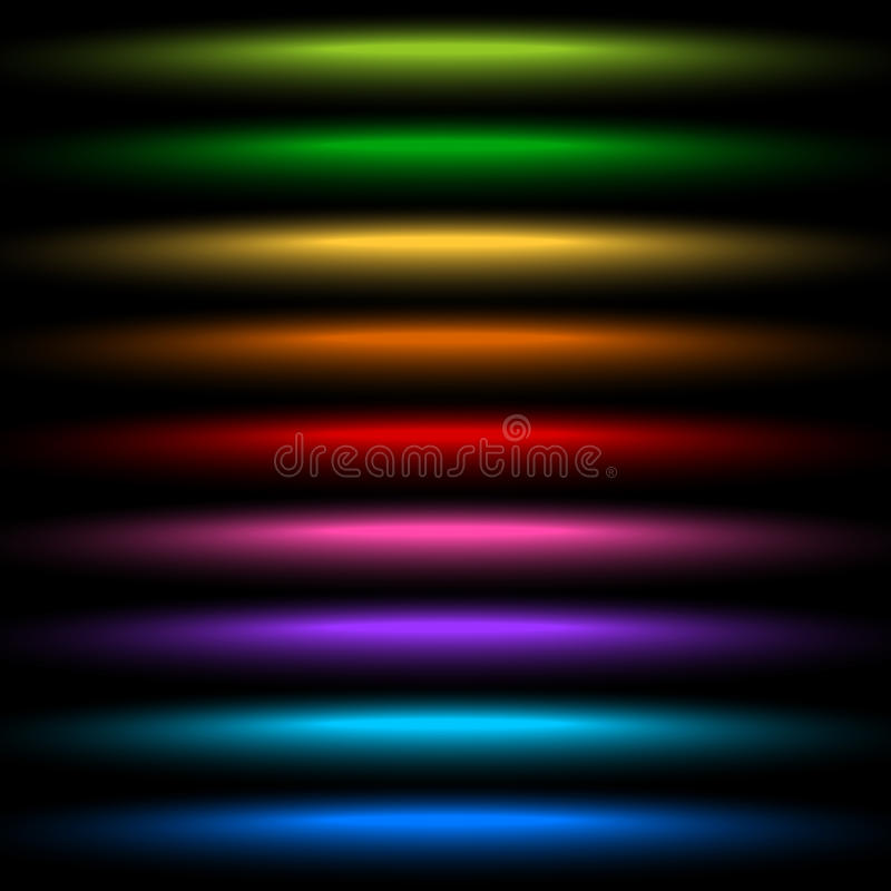 Horizontal light streak effect in several colors. Colorful beams stock illustration