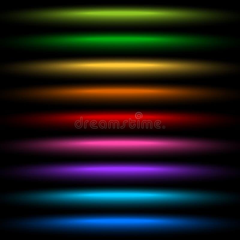 Horizontal light streak effect in several colors. Colorful beams stock illustration