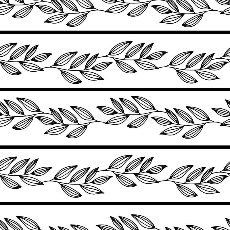 line art leaves horizontal seamless pattern stock vector