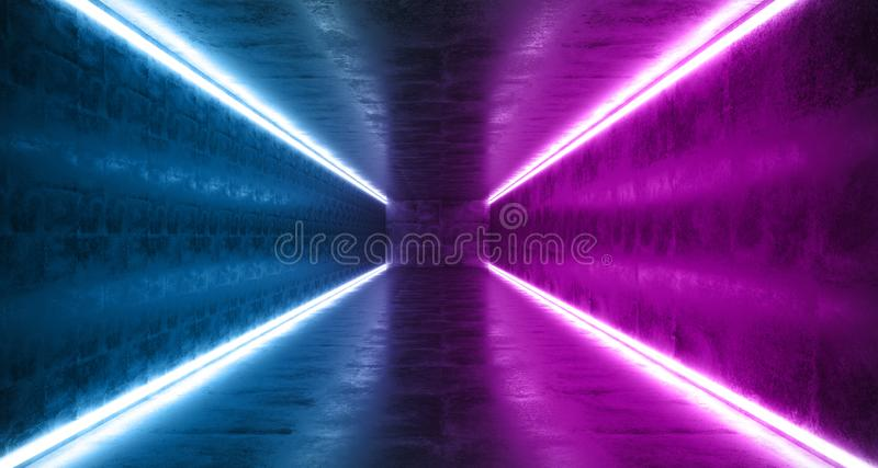 Horizontal Lines Neon Studio Construction Triangle Vibrant Sci Fi Tiled Stage Dance Lights Glowing Blue Purple Reflecting On. Grunge Concrete Big White Glowing vector illustration