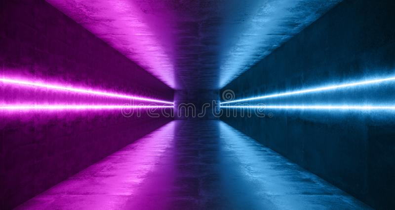 Horizontal Lines Neon Studio Construction Triangle Vibrant Sci Fi Tiled Stage Dance Lights Glowing Blue Purple Reflecting On. Grunge Concrete Big White Glowing stock illustration
