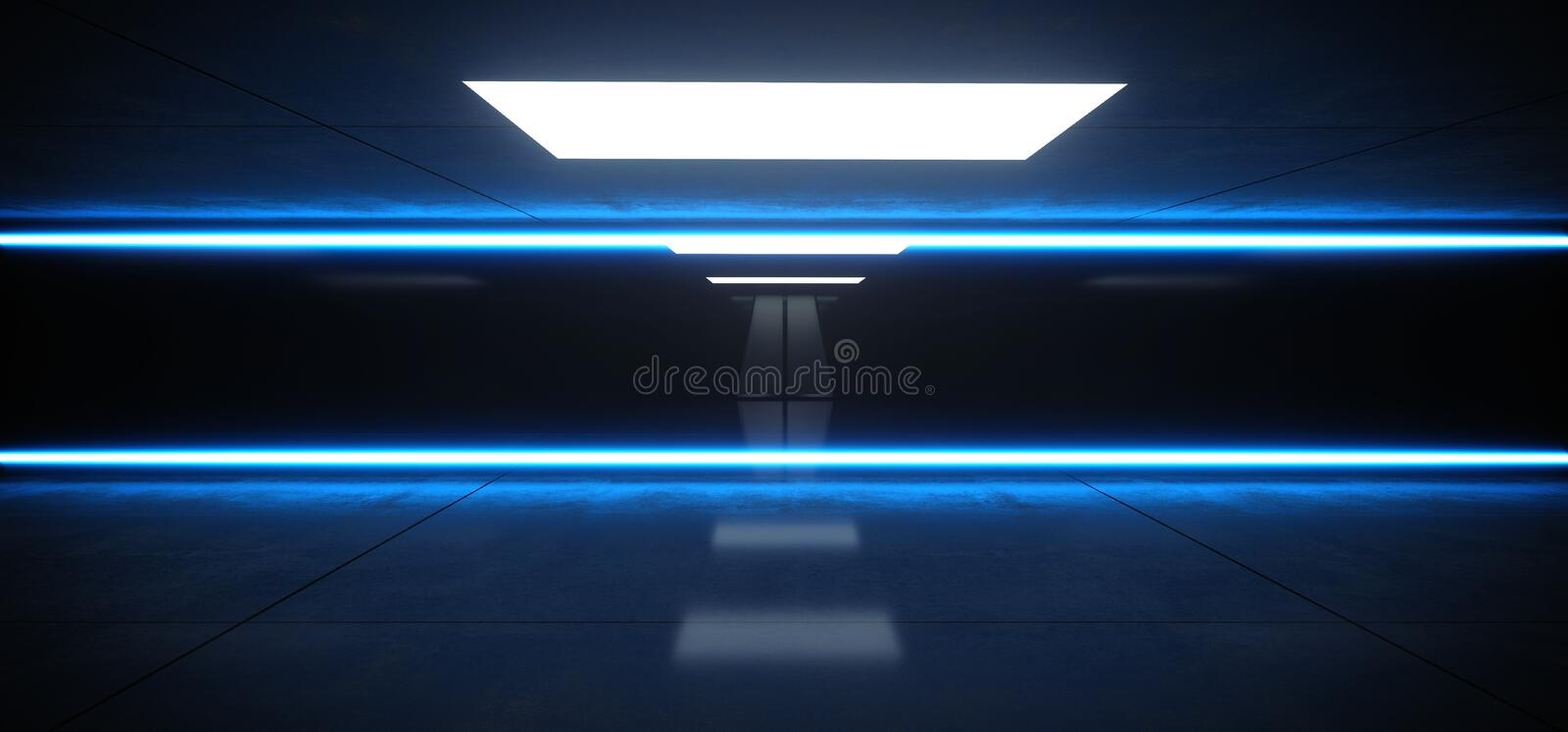 Horizontal Lines Neon Studio Construction Triangle Vibrant Sci Fi Tiled Stage Dance Lights Glowing Blue Reflecting On Grunge. Concrete Big White Glowing Lights royalty free illustration